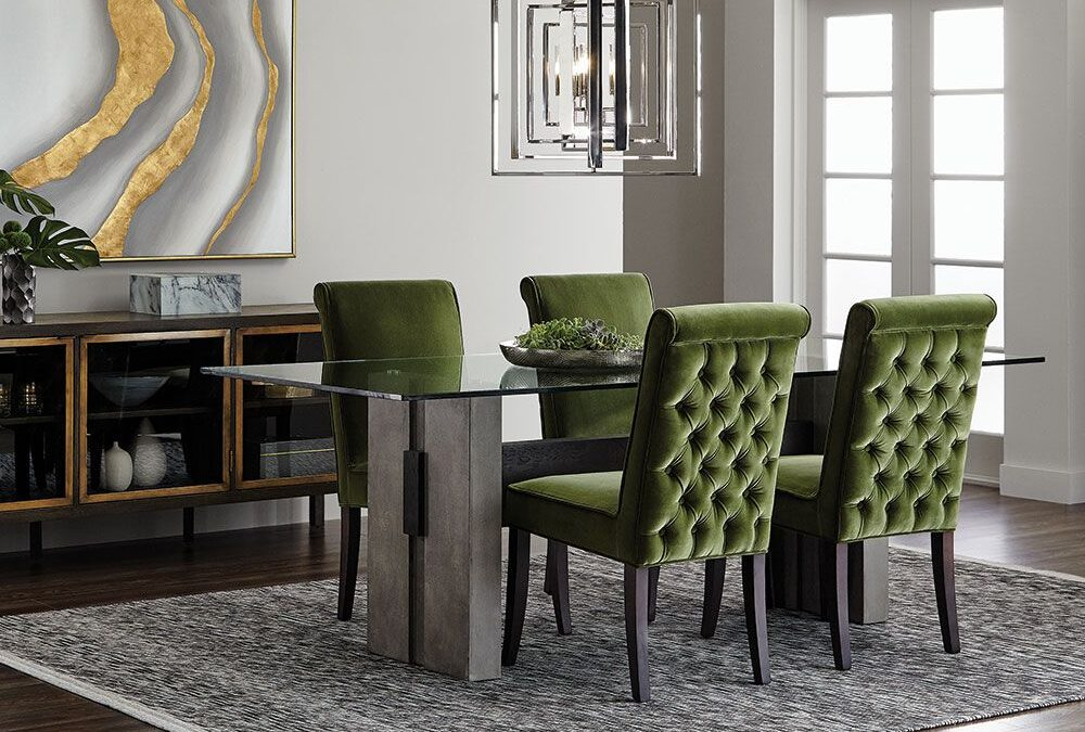 glass top and concrete legs dining table with wood slat down the centre in room setting with dining chairs and sideboard