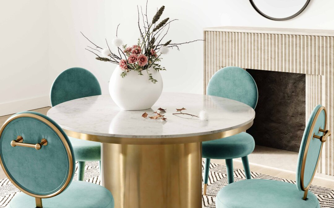 kylie sea blue velvet dining chair with gold legs in dining room setting