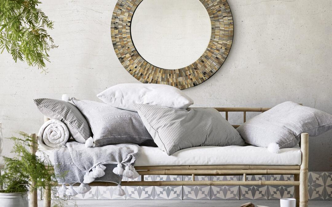 Aventurine Mosaic Round Mirror - LFI Design